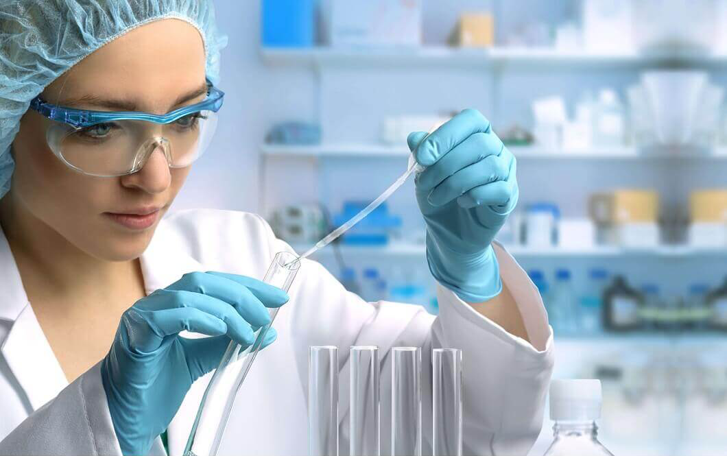 Lab Technician testing the oncology products
